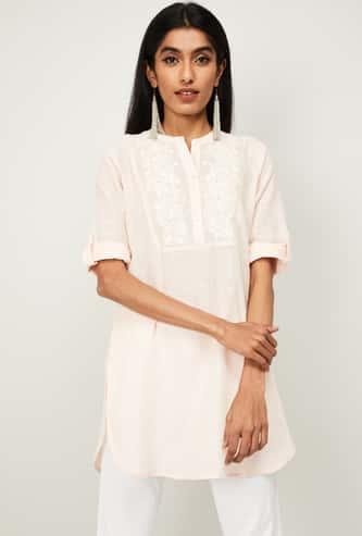 MELANGE Women Embroidered Three-Quarter Sleeves Straight Kurta