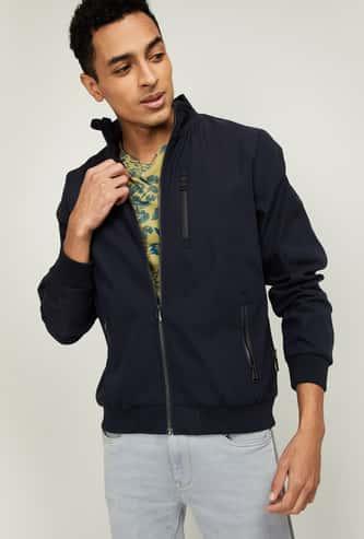T-BASE Men Solid Open-Front Jacket