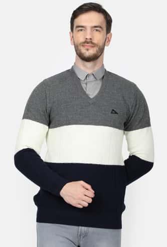 MONTE CARLO Men Colourblock V-neck Sweater