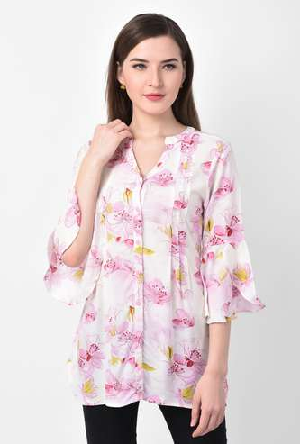 LATIN QUARTERS Women Floral Print Tunic with Petal Bell Sleeves