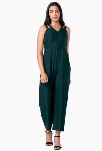 FABALLEY Women Solid Sleeveless Cropped Jumpsuit