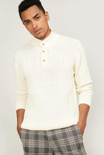 AEROPOSTALE Men Textured Full Sleeves Sweater