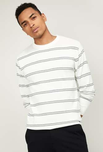 T-BASE Men Textured Full Sleeves Sweater