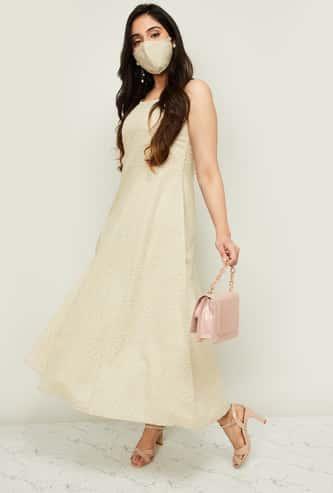 MELANGE Women Polka-Dot Print Maxi Dress with Mask