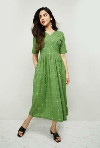 MELANGE Women Short Sleeves Midi Dress