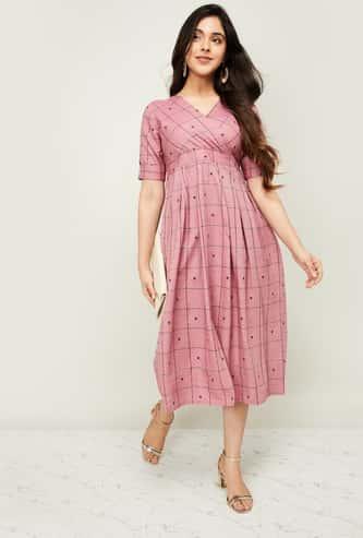 MELANGE Women Checked Short Sleeves Midi Dress