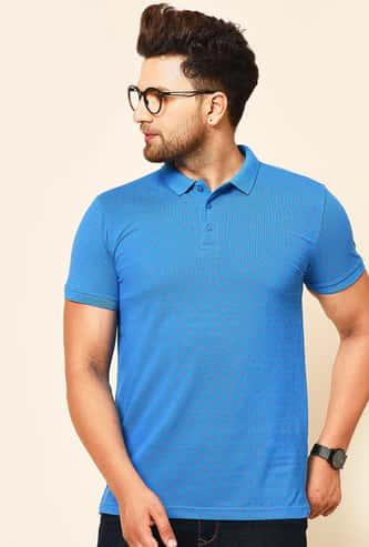 TURMS Men Printed Regular Fit Polo T-shirt