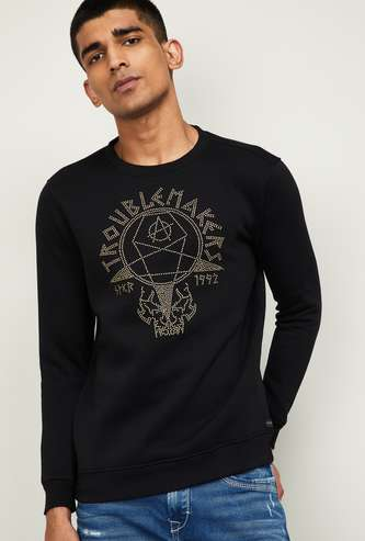 SPYKAR Men Printed Full Sleeves Sweatshirt