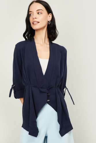 ALLEN SOLLY Women Roll-Up Sleeves Solid Shrug
