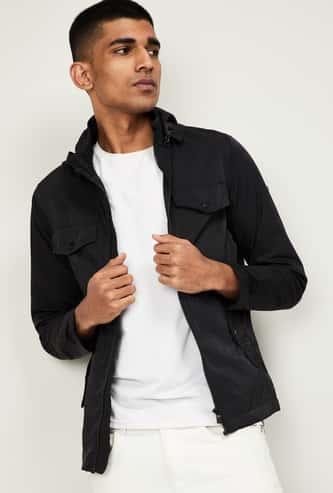 ALLEN SOLLY Men Solid Full Sleeves Hooded Jacket