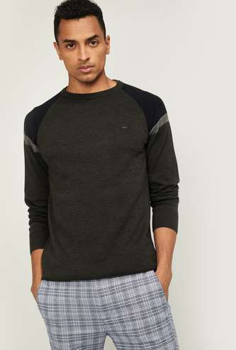 PROLINE Men Textured Raglan Sleeves Sweater
