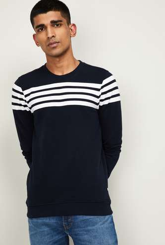 SPYKAR Men Striped Full Sleeves Sweatshirt