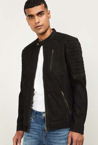 JACK & JONES Men Solid Biker Jacket