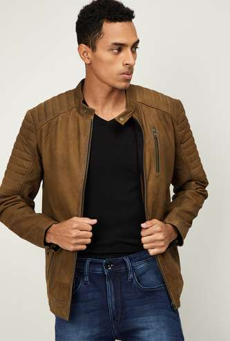JACK & JONES Men Solid Zip-Closure Jacket