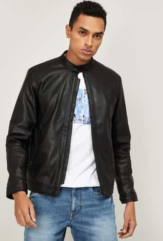 FORCA Men Solid Full Sleeves Biker Jacket