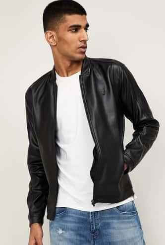 PROLINE Men Solid Biker Jacket with Zip Pocket