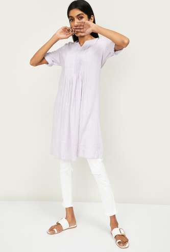 ALLEN SOLLY Women Solid Three-quarter Sleeves Tunic