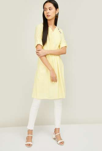 ALLEN SOLLY Pintucked Tunic with Floral Embroidery