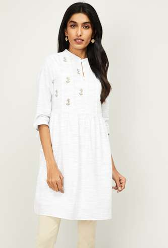 ALLEN SOLLY Women Floral Embroidery Flared Tunic
