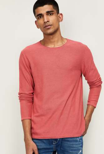 JACK & JONES Men Textured Full Sleeves Sweater