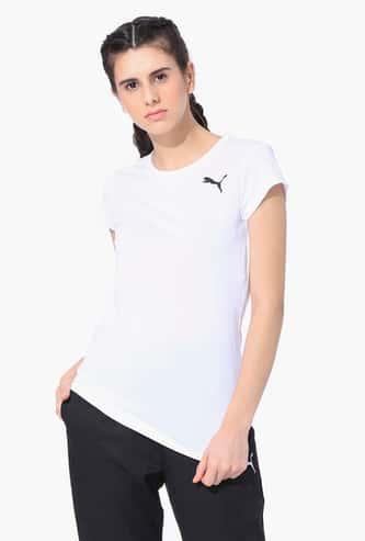 PUMA Women Solid Regular Fit Sports T-shirt