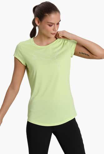PUMA Women Printed Regular Fit Sports T-shirt