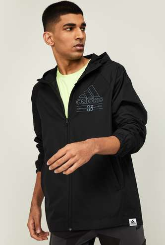ADIDAS Men Printed Hooded Sweatshirt