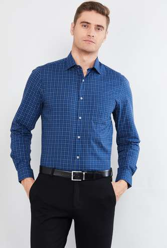MAX Checked Full Sleeves Slim Fit Formal Shirt
