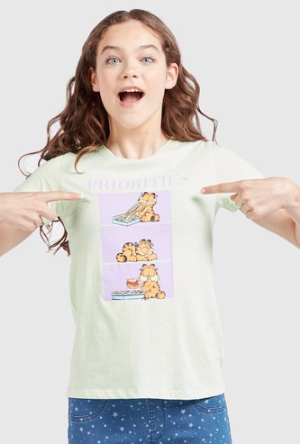 Garfield Print Round Neck T-shirt with Cap Sleeves