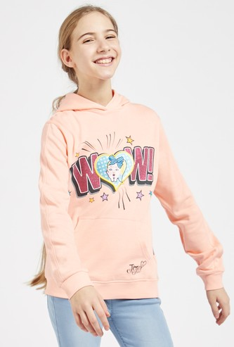 JoJo Siwa Graphic Print Hoodie with Long Sleeves and Kangaroo Pockets