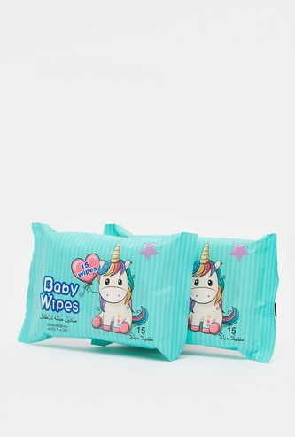 Pack of 2 - Unicorn Print 15-Piece Baby Wet Wipes