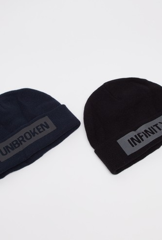 Set of 2 - Typographic Print Beanie Cap with Cuffed Hem