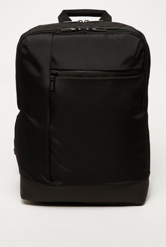 Solid Laptop Bag with Adjustable Straps and Zip Closure