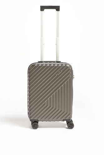 Textured Hard Trolley Suitcase with Retractable Handle - 37x22x56 cms