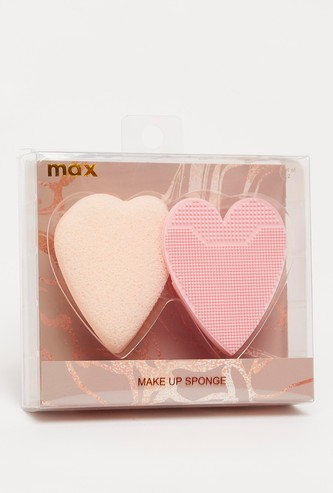 Heart Shaped 2-Piece Makeup Sponge and Cleaner Set