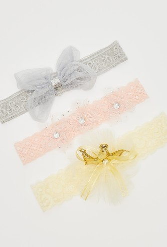 Set of 3 - Applique Detail Headband