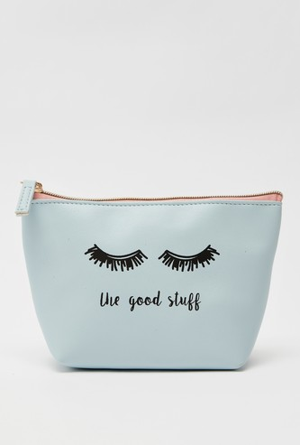 Graphic Print Pouch with Zip Closure
