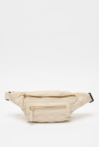 Quilted Fanny Pack with Buckle and Zip Closure