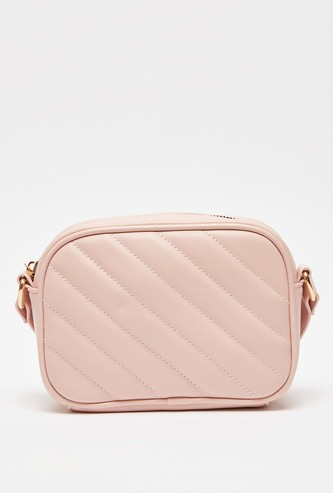 Quilted Crossbody Bag with Adjustable Strap and Zip Closure
