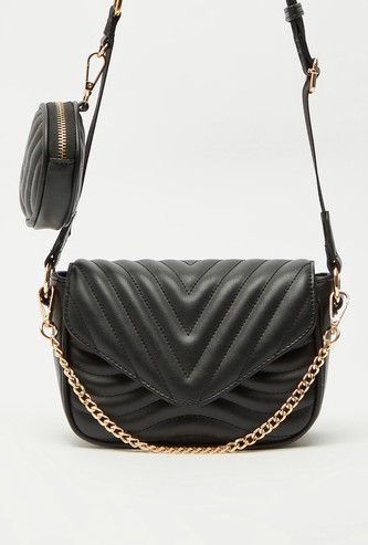 Quilted Crossbody Bag with Magnetic Snap Closure and Detachable Pouch