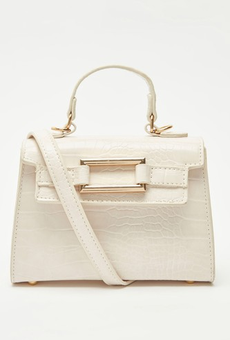 Textured Handbag with Detachable Strap and Magnetic Snap Closure