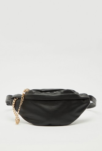 Solid Fanny Pack with Chain Accent