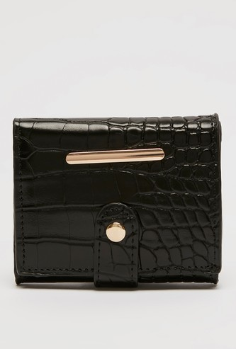 Textured Tri-Fold Wallet with Press Button Closure
