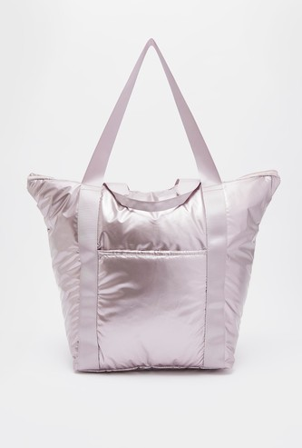Solid Tote Bag with Handle Straps