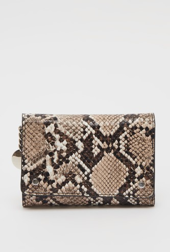 Textured Print Double-Fold Wallet with Button Closure