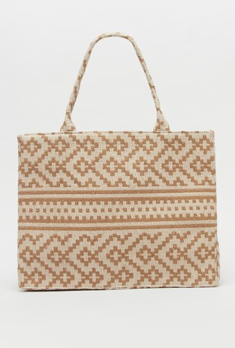 Textured Fabric Bag with Twin Handles