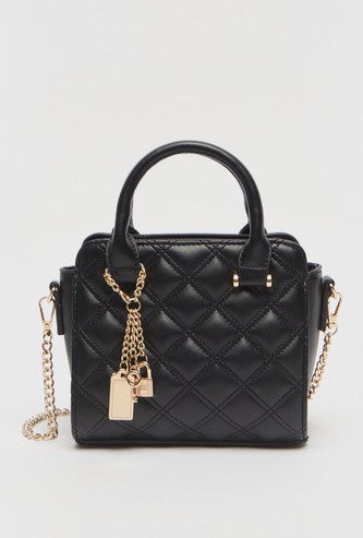 Quilted Tote Bag with Short Handles and Zip Closure