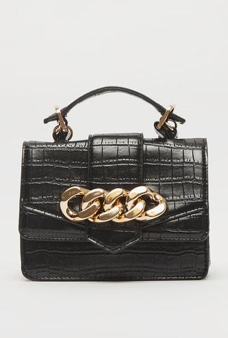 Textured Satchel Bag with Flap Closure