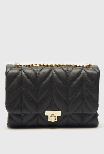 Quilted Satchel Bag with Twist Lock Closure