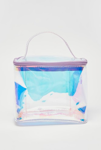 Iridescent Travel Pouch with Top Handle and Zip Closure